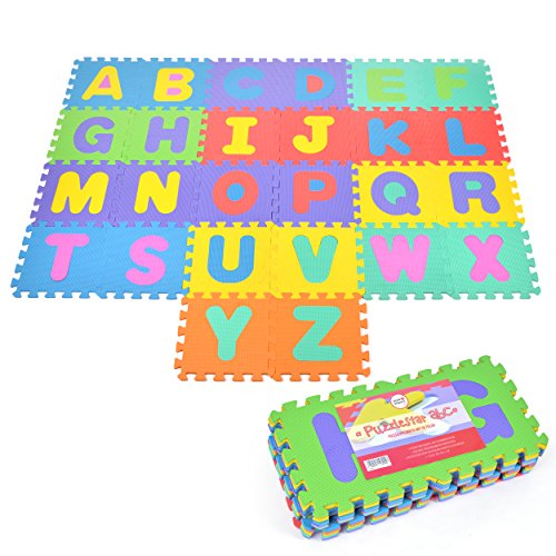 Puzzelmat ABC met 26 stukjes voor kinderen, antislip EVA - speelmat, aan elkaar te bevestigen 30 x 30 x 1 cm - kindertapijt, puzzel met letters inclusief tas
