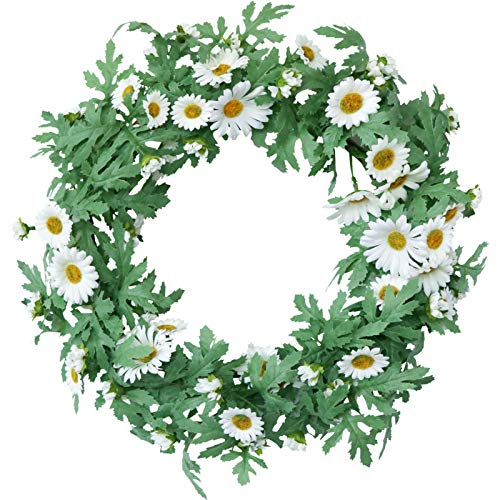 BHSHUXI Artificial White Sunflower Summer Wreath,Front Door Spring Summer Wreath for Indoor Decorations