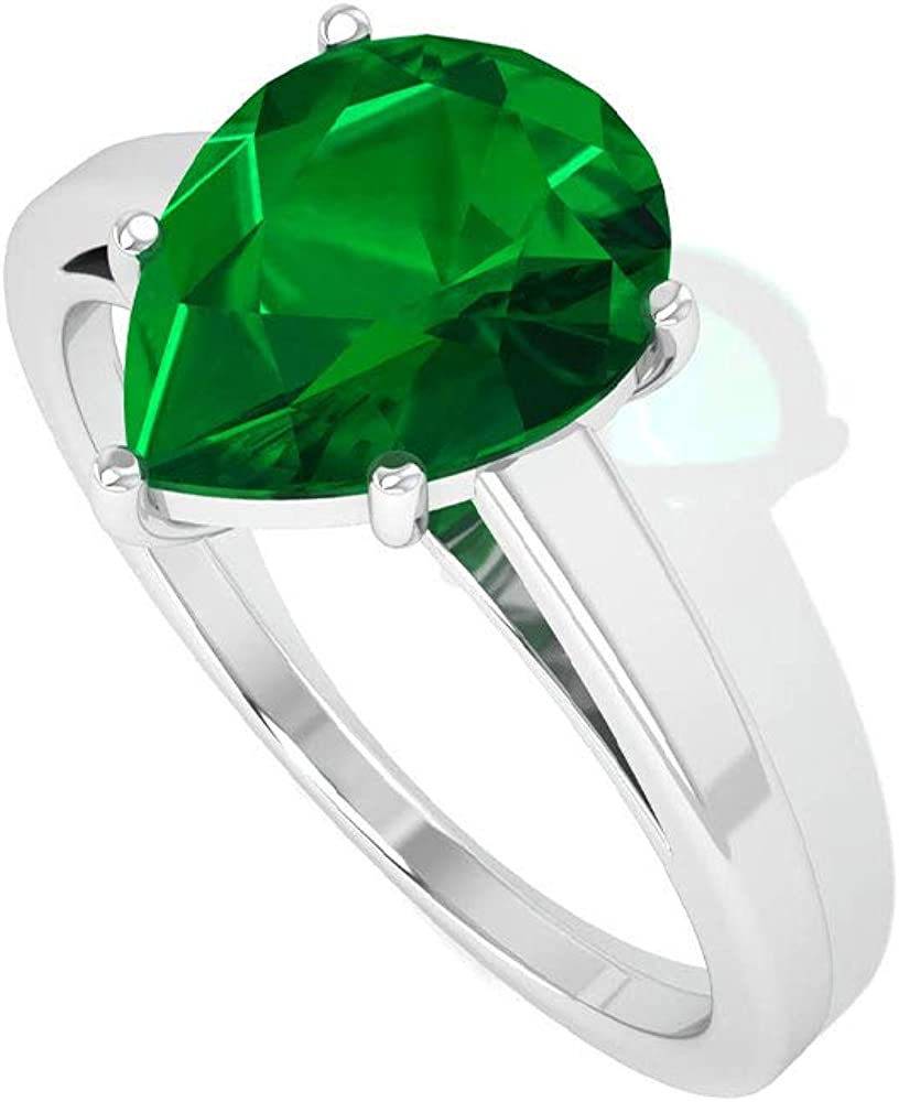1.70 CT Solitaire Pear Shape SGL Certified Lab Created Emerald Engagement Ring, Vintage Gemstone Teardrop Bridal Wedding Ring, Statement Promise Rings