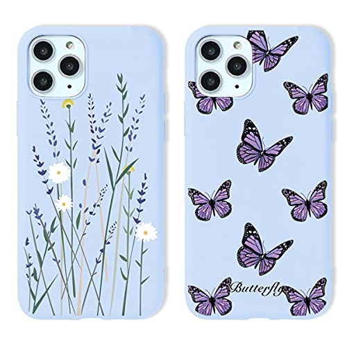 Yoedge 2 Piezas para Apple iPhone 6 Plus Funda,Morado Claro Silicona Carcasa Mate Suave TPU Protección,Ultra Slim Anti Choque Anti Arañazos Case Funda para iPhone 6s Plus 5,5',Mariposa y Flores
