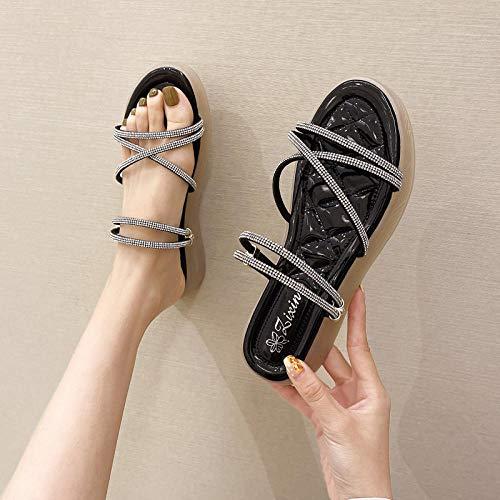 Sandalias de Punta Descubierta,Nuevas Sandalias de Taladro para niña de Verano, Zapatos de Paja de Cristal Brillante Suave de Dos usos-39_Black,Mulas Sandalias Sin Cordones