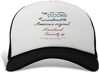 Trucker Hat The Second Amendment America's Original Homeland Security. Polyester Baseball Mesh Cap Snaps Black One Size