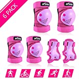 Safety Gear for Kids 3-8 Years Old, Kids Youth Knee Pad Elbow Pads Wrist Guards 3 in 1 Adjustable Protective Gear Set for Roller Skating Cycling Skateboard Bike Scooter Rollerblade (Purple)