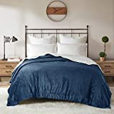 DEGREES OF COMFORT Reversible Sherpa Queen Blanket for Bed - Warm Fuzzy Sherpa & Soft Plush Fleece, Warm Blankets for Winter | Couch, Bed, Camping | 4 Sizes 10 Colors, Great Gift, Queen 90x90 Navy