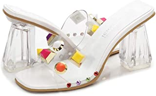 Transparent High heels Open toe Ms Thick heel sandals flip flop