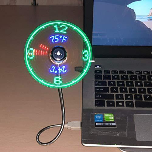 Attoe USB Ventilator,Lüfter zeigt Uhrzeit und Temperatur an,RGB-Version Mini-USB-LED-Lüfter mit flexiblem Schwanenhals, LED-Anzeige, Memory-Funktion für PC, Laptop, Notebook, Desktop-Computer