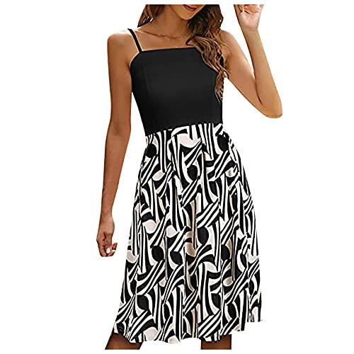Liably Vestido de verano para mujer, moderno, bohemio, estampado, de cintura media, vestido de princesa, sexy, elegante, para el tiempo libre, para la playa, fiesta, fiesta, mini vestido, Negro , XXL