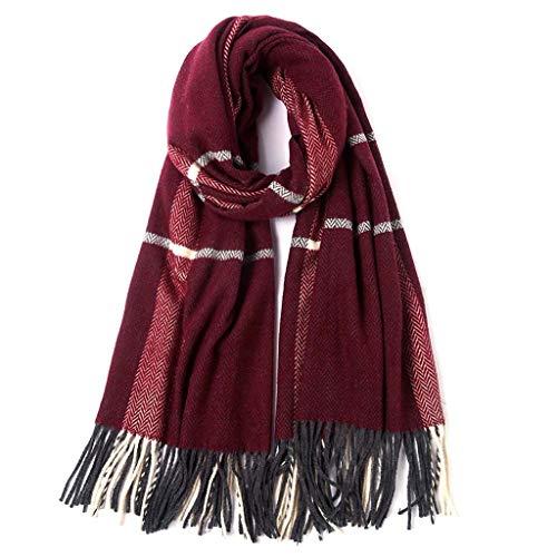 SUFLANG Sjaal vrouwen Mode Lange Sjaal Grote Grid Winter Warm Lattice Grote Sjaal Super Zachte dames Sjaals Fuchsia-205 * 75cm