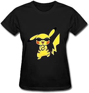 OULIN Women's Pikachu Gangnam T Shirt Black XL