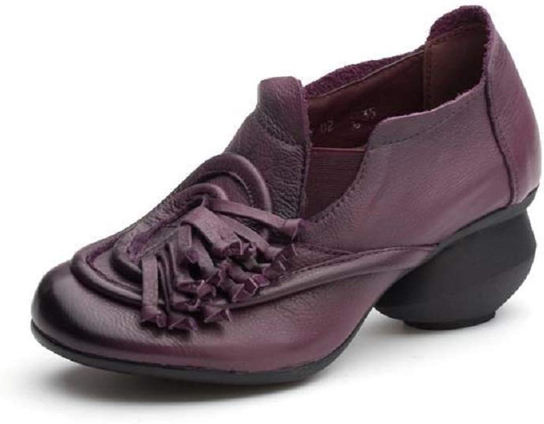 Damen Damen Quaste Schuhe Block Leder Vintage Casual Mary Jane (Farbe   Lila, Größe   EU 36)  Outlet zum Verkauf