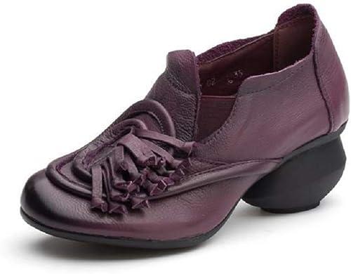 Qiusa Femmes Tassel Chaussures Block en Cuir Vintage Décontracté Mary Mary Jane (Couleuré   Violet, Taille   EU 40)  au prix le plus bas