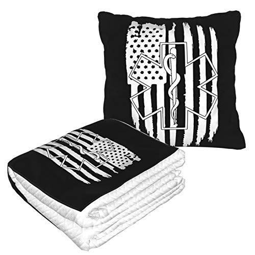 Manta de almohada de viaje con diseño de estrella de la vida de la bandera americana y suave 2 en 1 multifunción
