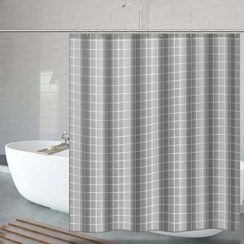 OTraki duschvorhang 240x200, Textil Bad Vorhang aus Polyester Anti-Schimmel, Wasserdichter, Waschbar Stoff Badezimmer Vorhang mit 16 Duschvorhängeringen & Beschwertem Saum Grau