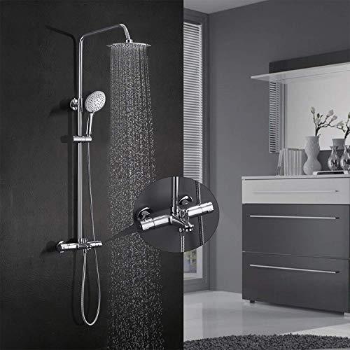 BONADE Duschsystem mit Thermostat 38 °C Sicherheitssperre Duscharmatur Überkopf- und Handbrause Duschkopf Duschsäule aus Edelstahl Brausethermostat Duschset Regendusche Badewanne Chrom