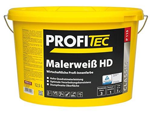 ProfiTec Malerweiß HD Profi Wandfarbe hohe Deckkraft Innenfarbe matt 12.5 Liter, weiß