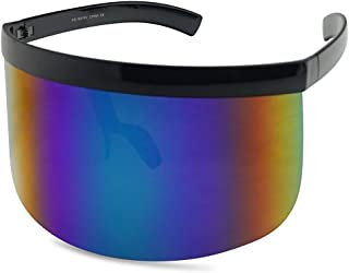Extra Large Mask Cover Shield Visor Style Sunglasses W/Flash Mirrored Mono Lens