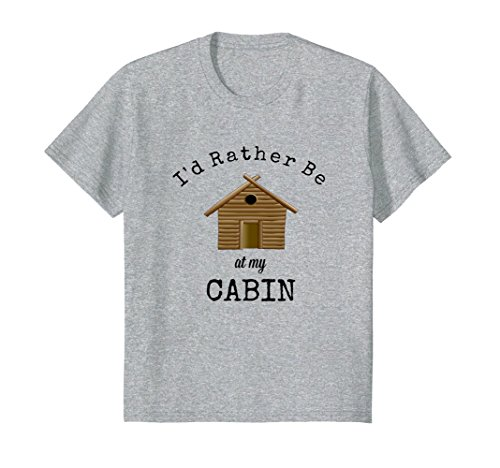 Kids Camping Shirt Fun Outdoor Recreation Log Cabin Escape 8 Heather Grey