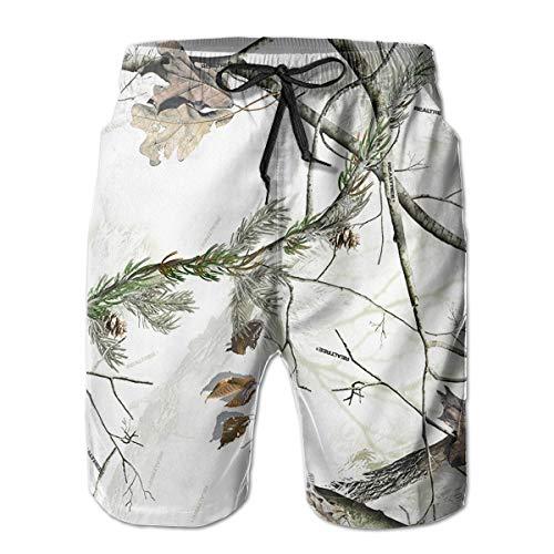 NICOKEE Cool Swim Trunks for Men White Realtree Camo Summer Quick Dry Beach/Board Shorts