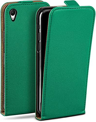 moex Flip Hülle für Sony Xperia Z2 Hülle klappbar, 360 Grad R&um Komplett-Schutz, Klapphülle aus Vegan Leder, Handytasche mit vertikaler Klappe, magnetisch - Dunkelgrün