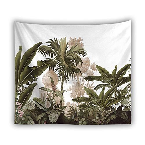 KHKJ Tapiz de Hojas Verdes en 3D Planta Tropical Colgante de Pared Casa de Campo Decoración del hogar Tapiz Mantel Colcha Tenture Alfombra A14 200x150cm