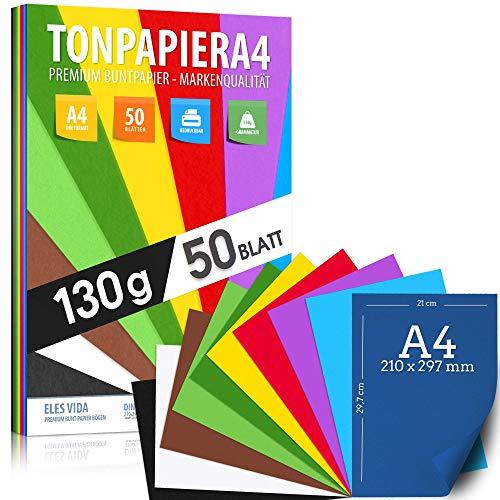 50 fogli di carta da disegno DIN A4-130 g - 10 colori - carta solida - fogli colorati per la scuola - fogli per bambini e fai-da-te, accessori per la lavorazione - carta per copie - DALLA GERMANIA