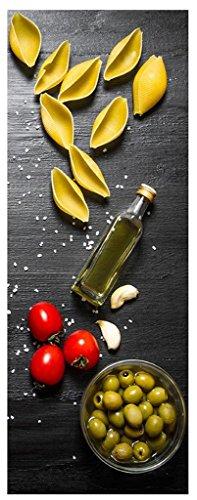 levandeo Glasbild 80x30cm Wandbild aus Glas Küche Pasta Nudeln Oliven Italien