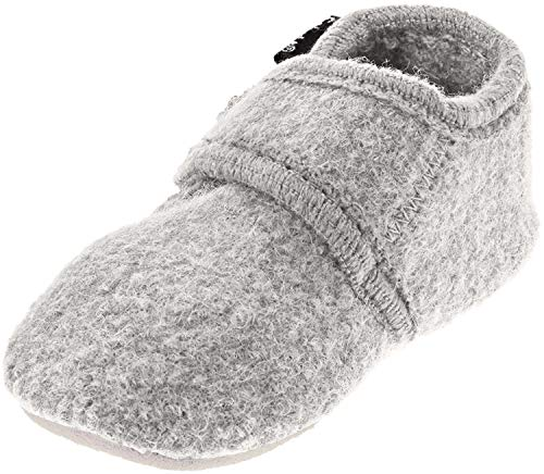 CeLaVi - Wool Booties - Unisex Soft Sole Crib Shoes for Infants and Toddlers - Leather Bottom and Velcro Closure - Ideal Slippers for Pre-Walkers and First Walkers - 9 Colors Light Grey
