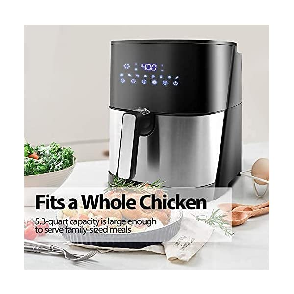 JKM XL 5.3 Quart Air Fryer Oven Stainless Steel , 8 Cooking Preset, Multifunction LED Digital Display,15 E-recipes, No…