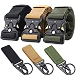 Ginwee 3-Pack Tactical Belt,Military Style Belt, Riggers Belts for Men, Heavy-Duty Quick-Release Metal Buckle with Extra Molle Key Ring Holder Gears