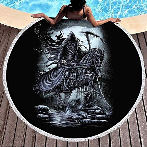 Morte scura su cavallo, luna notturna, tacchino da spiaggia con nappe fantasia, ultra morbido, rotondo, 150 cm, colore: bianco