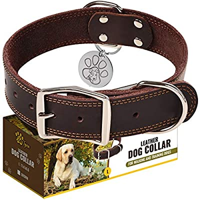 "Leather Dog Collar for Small, Medium and Large Dogs - Heavy Duty Wide Dog Collars with Durable Metal Hardware & Double D-Ring - Unique Name Tag Included (L: 1,5"" width / 17""- 23"" length, Brown)"