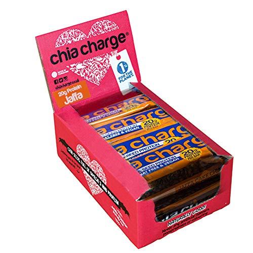 Chia Charge - 20g Eiweiß – Protein Riegel Vegan - Erdnussbutter- Weizenfrei - Glutenfrei – Lactosefreie Protein – Proteinreiche Snacks - 10 x 60g Jaffa