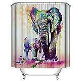 BAIGIO Cortina de ducha de 180 x 180 cm, resistente al agua, antimoho, poliéster, con 12 ganchos, impresión digital 3D, diseño de elefante y madre con certificado Öko-Tex
