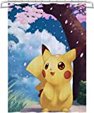 Visionpz Duschvorhang Pokemon Cartoon Anime Anti-Mehltau Wasserdichter waschbarer gewichteter Saum, antibakterieller Duschvorhang aus Polyester, Badvorhang mit 12 Ringen 150x180cm