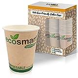 Tazas de café desechables ecológicas para bebidas calientes con forro aislante y tazas biodegradables y compostables, para café, té y chocolate caliente, 8 onzas – (100 unidades)