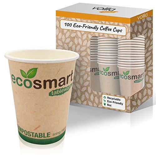 Umweltfreundliche Einweg-Kaffeebecher für Heißgetränke mit isolierter Auskleidung und biologisch abbaubaren und kompostierbaren Tassen - 8 oz - (100 Packung)