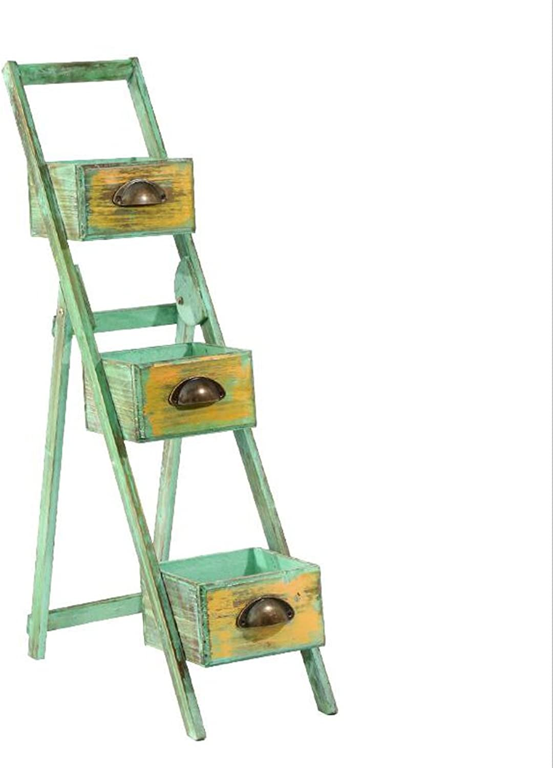 NYDZDM Flower Wooden Stairs Rack Plant Stand 82  50  20cm, Green Foldable