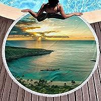 ハワイのビーチ ラウンド ビーチ タオル 150 Cm、厚手のラウンド ビーチ タオル - サークル ビーチ ブランケット マイクロファイバー ヨガ マット、タッセル付きの超吸収多機能タオル