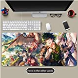 DMWSD Mouse Pad Table Mat My Hero Academia Anime Character Midoriya Izuku Heroes of Another World Adventure Extra Large Non-Slip Professional Gaming Mouse Pad for Desk Laptop PC Peripheral
