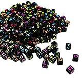 Alphabet Neon Buchstabenperlen - 1000 Stuck (5 x 5mm) Quadratische Acryl-Buchstaben Bunte Perlen für DIY Armband, Halsketten-Herstellung, Kinderschmuck Bastelperlen, Qualitäts-Spaß und...