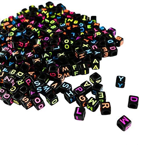 Alphabet Neon Buchstabenperlen (1000 Stuck) - (5 x 5mm) Quadratische Acryl-Buchstaben Bunte Perlen für DIY Armband, Halsketten-Herstellung, Kinderschmuck Bastelperlen, Qualitäts-Spaß und Ergebnisse