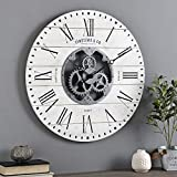 FirsTime & Co. Shiplap Gears Wall Clock, 27', Aged White