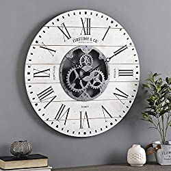 FirsTime & Co. Shiplap Gears Wall Clock, 27, Aged White