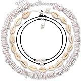 Simoda 4 Piezas Collar de Gargantilla de Concha Natural Puka para Mujeres niñas, joyería de Collar de Playa de Bohemia Concha Hecha a Mano con Perlas de Hawaii para Hombres
