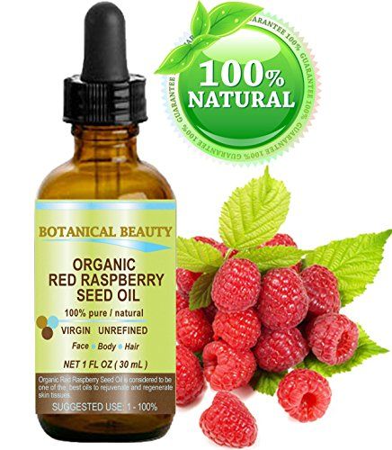 RED RASPBERRY SEED OIL ORGANIC. 100% Pure / Natural / Undiluted / Virgin / Unrefined Cold Pressed Carrier Oil. 1 Fl.oz.-30 ml. For Skin, Hair, Lip and Nail Care. 'One of the highest anti-oxidant, rich in vitamin A and E, Omega 3, 6 and 9 Essential Fatty Acids'. by Botanical Beauty