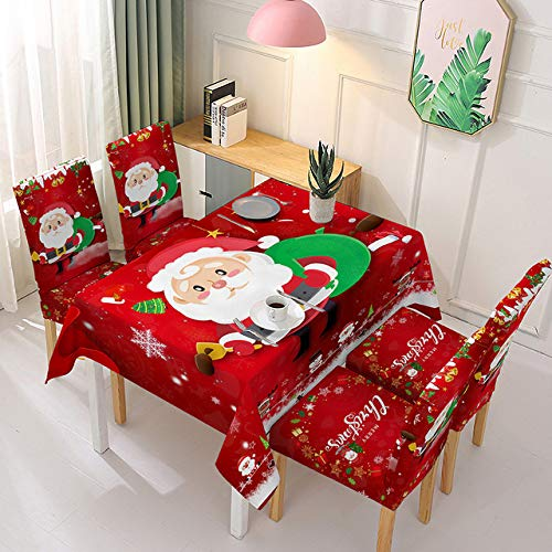 Siera Waterproof Christmas Tablecloth and Chair Cover Elastic Santa Claus Rectangular Dinning Table Cover Cloth for Party Table Cover,E,140x180cm