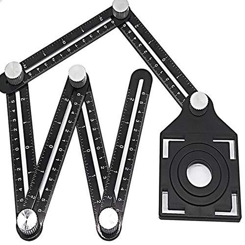 DIMDIM 6-seitiges Winkelmesslineal, Multi-Vorlage mit Fliesenpositionierung, Blenden-Faltlineal, Werkzeug für Holzbearbeitung, Messgeräte Werkzeug (Farbe: schwarz)