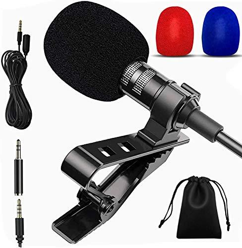 ASHINER Micro Cravate, Microphone PC 3.5mm Jack Audio avec Clip pour Podcast/Streaming/Vlog/Enregistrement vidéo/Jeux/Cadeaux