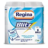 Regina Blitz Household Towel, 8 Rolls, 560 Super-Sized Sheets, Triple Layered Strength