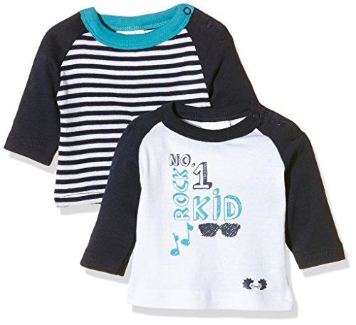 Julius Hüpeden GmbH Twins Baby-Jungen Langarm T-shirts im 2er Pack, Mehrfarbig (Weiss/Marine 810012), 56